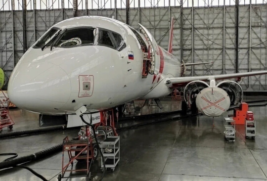 S7 Technics specialists performed the first A-Check of the Red Wings SSJ100 aircraft